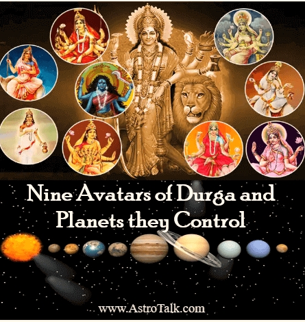 Nine Avatars of Durga and Planets they Control