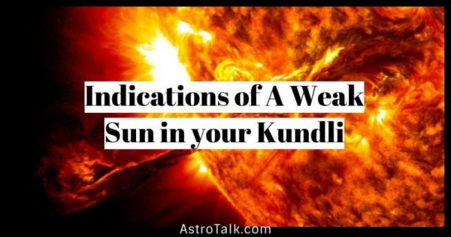 Indications of a weak sun in your kundli